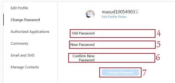 Step4 change instagram password PC