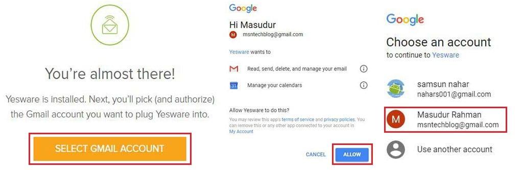 select gmail account and allow access