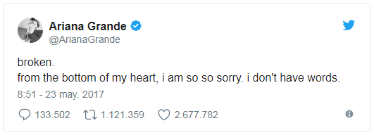 Ariana Grande Tweet - Most Shared and Like tweets of 2017