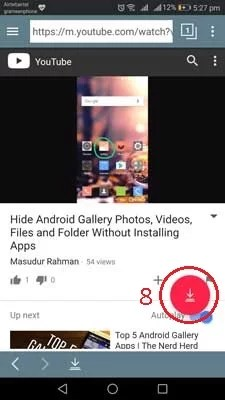 Button to download YouTube video