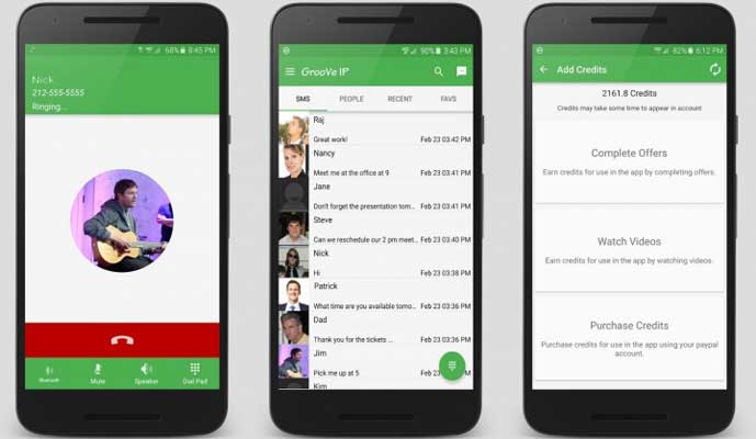 groove ip make calls and send message without anyone knowing