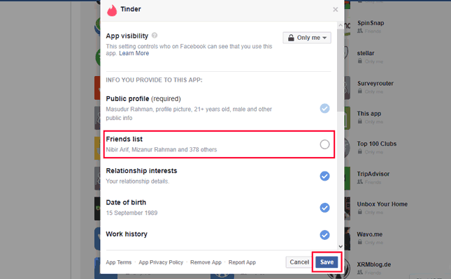 Change Tinder App Setting on Facebook