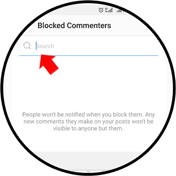 Search user to block commenting