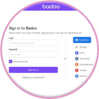 Sign desktop badoo in Get Badoo