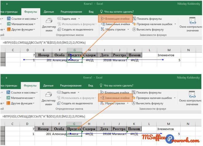 Отображение зависимости формул на листе Excel