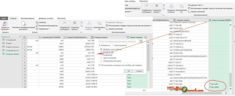 В добавленной таблице достаточно отобразить один столбец (любой, не обязательно модель)
