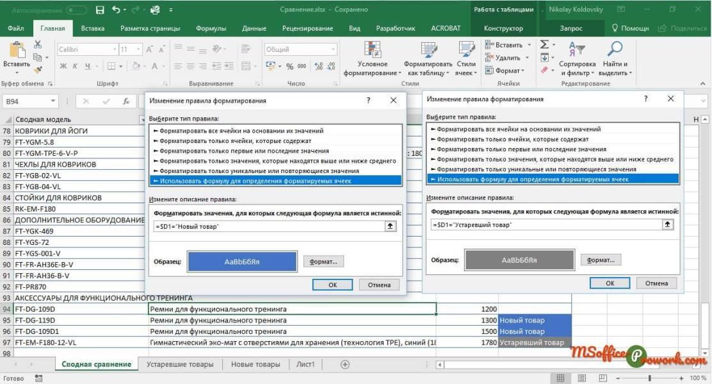 Настройка правил условного форматирования для подсветки нового и устаревшего товара