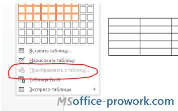 Неактивный способ преобразования текста в таблицу