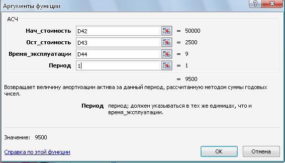 Заполнение полей функции АСЧ