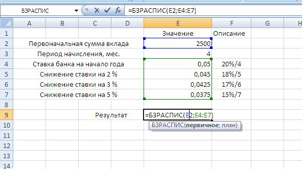 Ввод данных для функции БЗРАСПИС