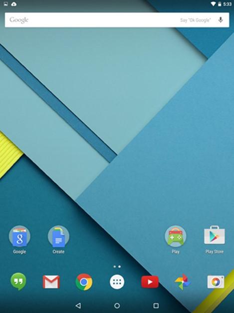 Nexus 9 интерфейс Android 5.0