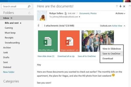 Сохранение вложений почты Outlook.com в один клик