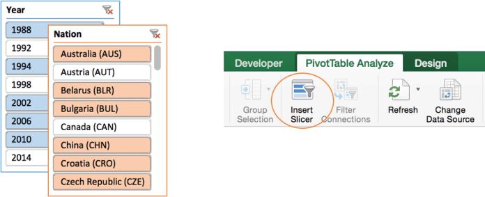 Использование срезов для фильтрации данных в Excel для Mac