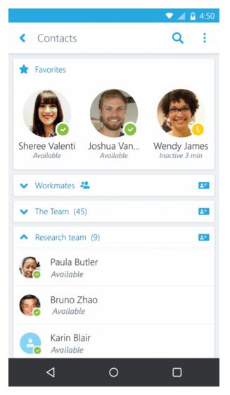 Поиск контактов в Skype для бизнеса
