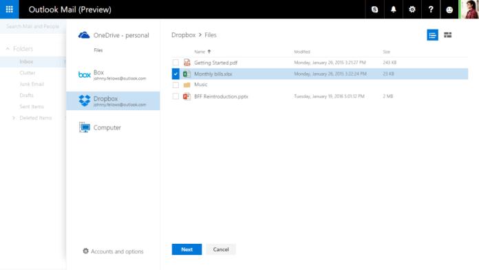 Работа в Outlook.com в сторонних online хранилищах