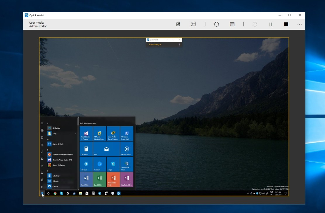 Windows 10 Quick Assist window 1