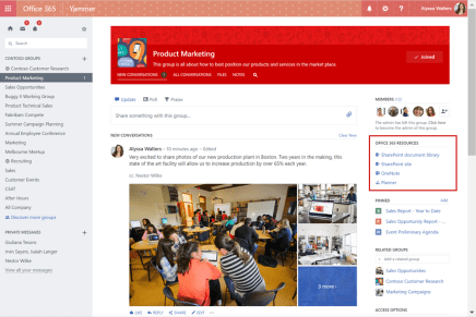 Microsoft интегрировала Yammer с Office 365 Groups