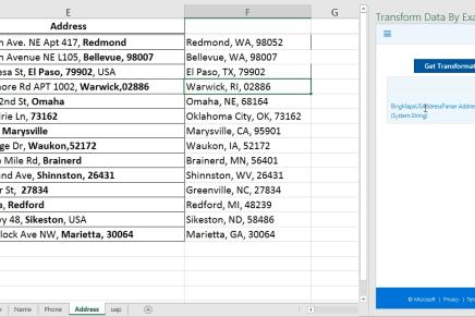 Transform Data by Example - обработка данных в Excel еще проще
