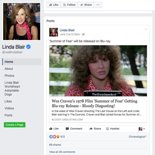 Linda Blair's Social Media