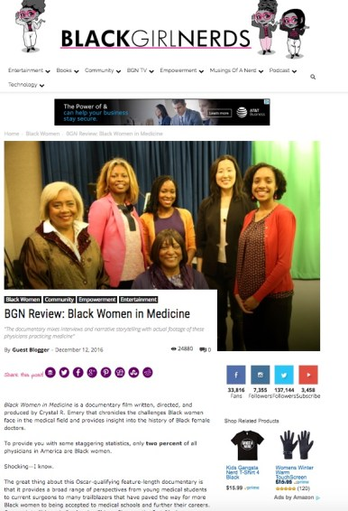 Black Girl Nerds; feature coverage of Black Women in Medicine
