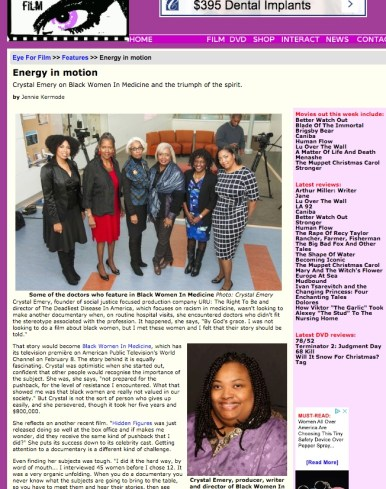 Eye For Film; feature coverage of Black Women in Medicine
