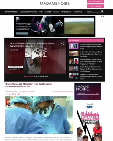 Madame Noire; feature coverage of Black Women in Medicine