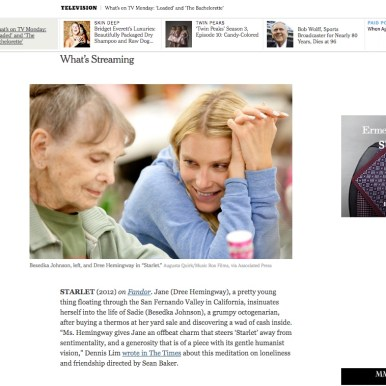 """Sean Baker's """"Starlet"""" in The New York Times"""