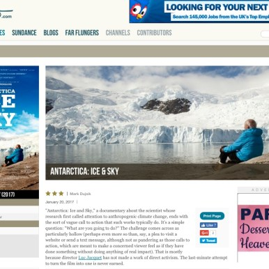 Roger Ebert; film review, Antarctica Ice & Sky