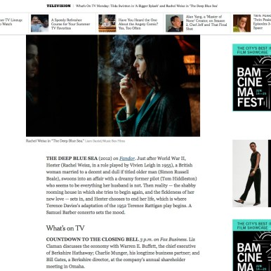 """""""The Deep Blue Sea"""" in The New York Times"""