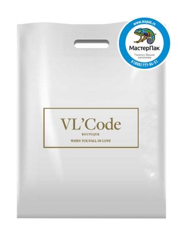 Пакет из ПВД с логотипом VL`Code, Санкт-Петербург, 70 мкм, 38*50, белый