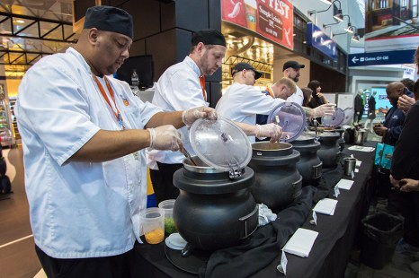Dishing out chili on Concourse G.