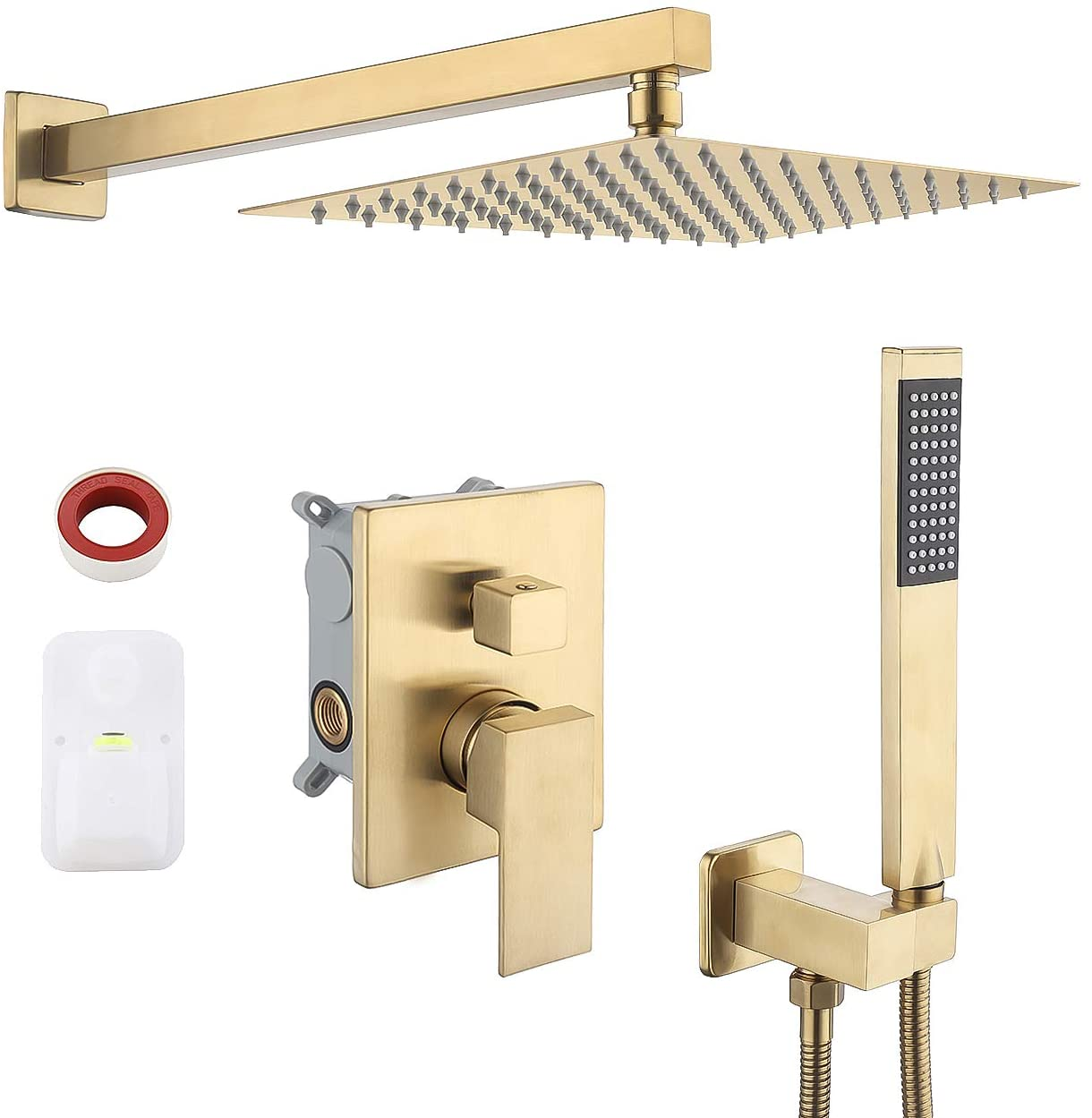 pressure balancing rain shower system shower faucet complete set square pvd gold including shower faucet rough in valve body and trim xb6230 bz