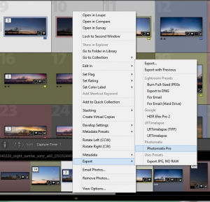 Export your files to Photomatix