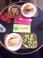 Bánh mí sandwiches: mine had chicken, Chris got pork. I got an avocado, green apple, cilantro, edamame salad; Chris got a salad with quail eggs, snap peas and croutons