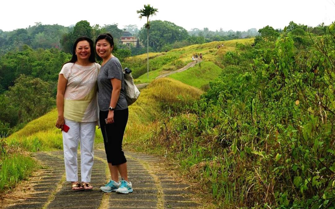 Ms Pollyanna | Lynette and cousin's wife along Campuhan Ridge, Ubud
