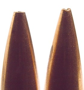 """There will be variations in any box of hollowpoint match-style bullets, and a source for variation is the meplat (tip). Variations are an unavoidable result of the pointing-up process in manufacture. I've measured as much as 0.020 inches in a box. A """"meplat uniformer"""" strives to eliminate this variance. Uniforming reduces the BC a scant few points, but it's a trade many serious long-range shooters say is worth the effort. Uniformed on left."""