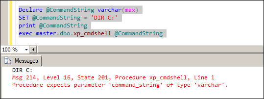 Procedure xp_cmdshell expects parameter 'command_string' of type 'varchar'.