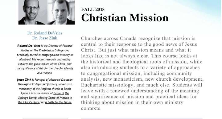2018/2019 Course : Christian Mission