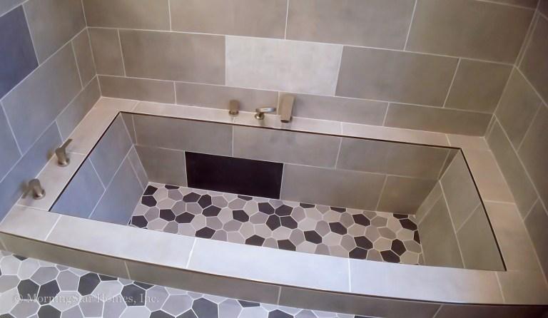 Built-in tub in owner's shower