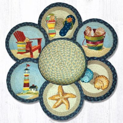 By The Sea 56-362BTS Trivets In A Basket Set of 6 10x10