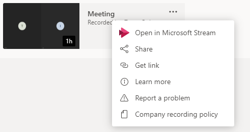 Recorded Meeting Microsoft Teams sharing options