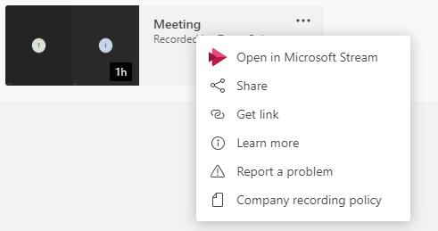 Recorded Meeting Microsoft Teams sharing options