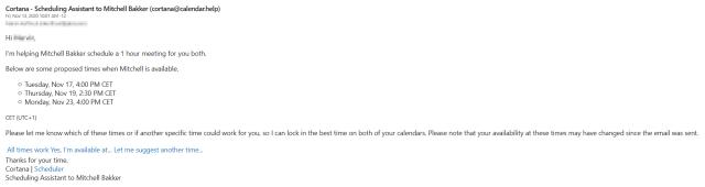 Cortana Scheduler reply
