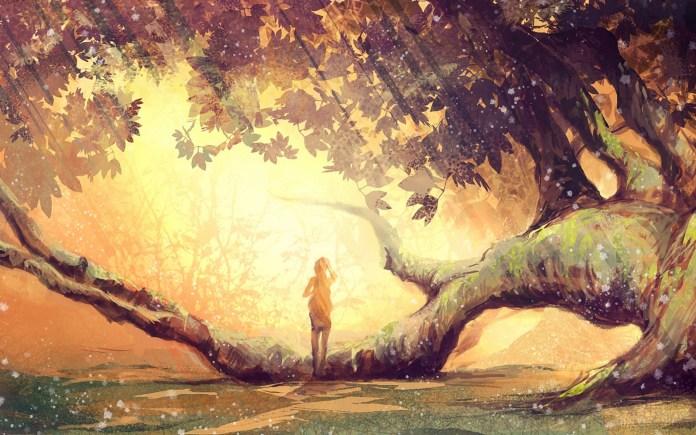 art-girl-tree-leaves-branches-moss-sunshine-light