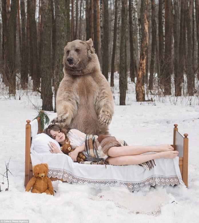 美女與野獸最新版,超可愛的大棕熊就這樣讓俄羅斯美女服了!