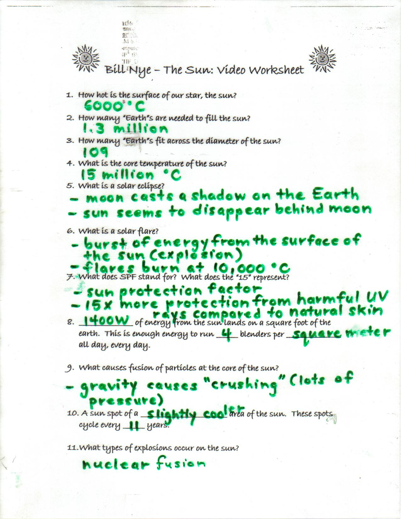 Bill Nye Skin Worksheet