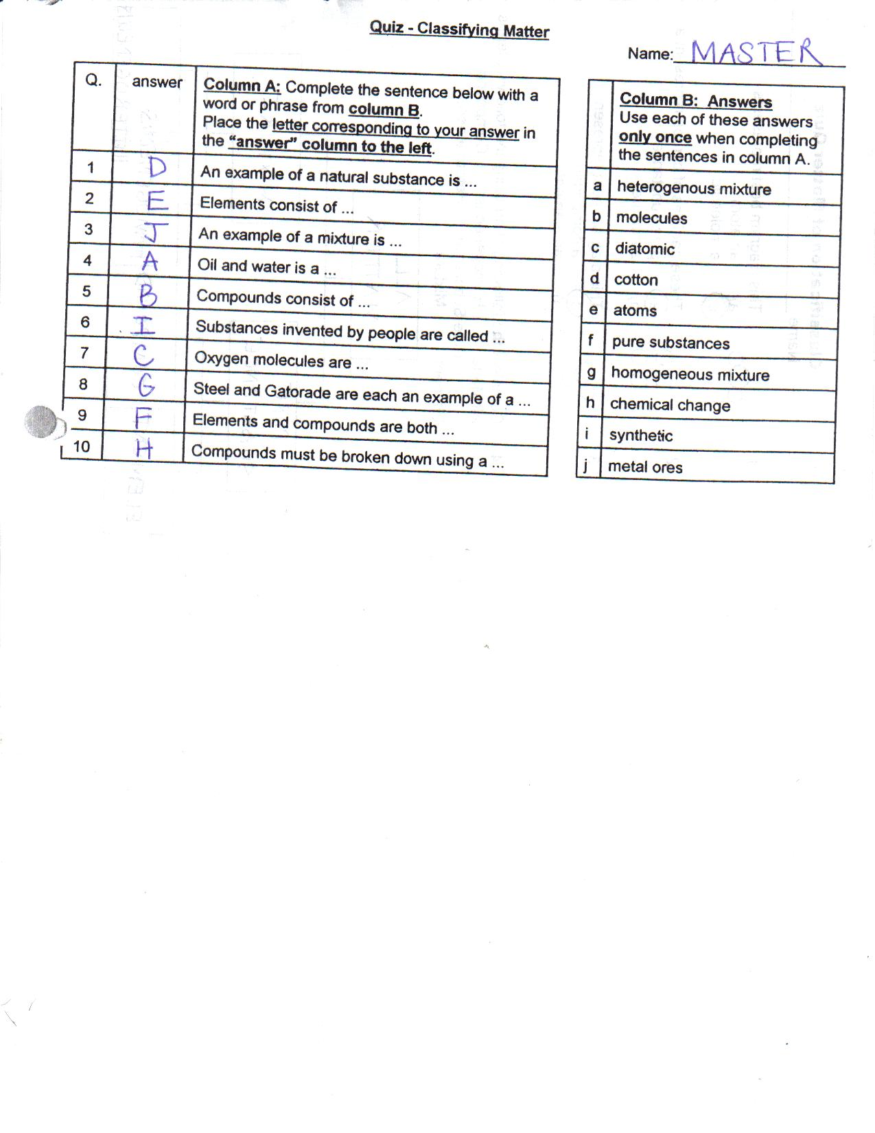 Classifying Matter Worksheet Grade 7