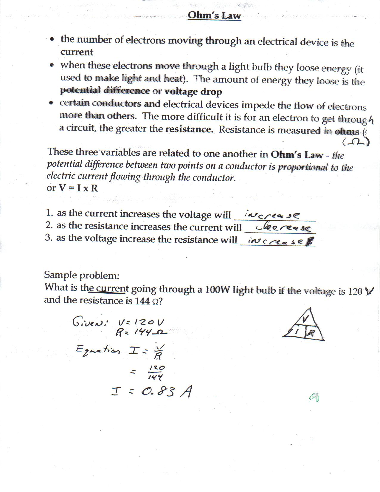 Ohms Law Worksheet Worksheets Kristawiltbank Free