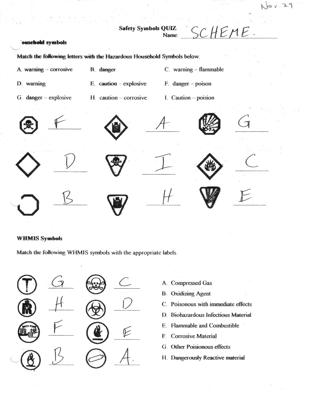Beautiful Worksheet Whmis And Safety Worksheets