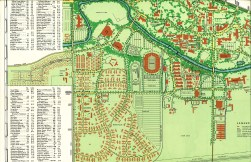 Part of a September 1950 MSU Campus Map showing where all the temporary housing was located. (MSU Information Files. Maps. Campus.)